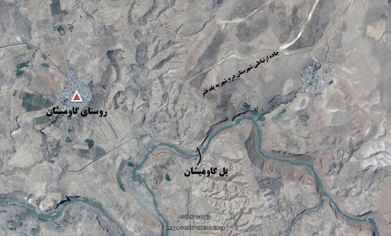 پل گاومیشان و موقعیت جغرافیایی آن- دید از جنوب شرق